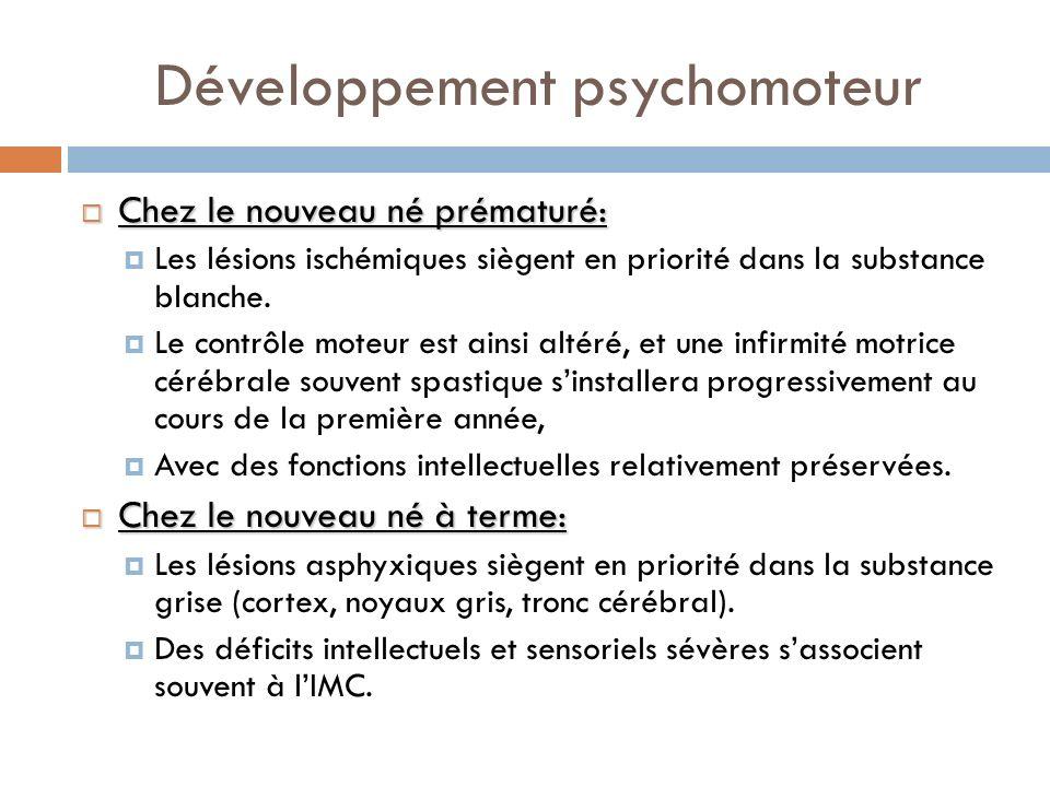 Développement psychomoteur Chez le nouveau né prématuré: Chez le nouveau né prématuré: Les lésions ischémiques siègent en priorité dans la substance b