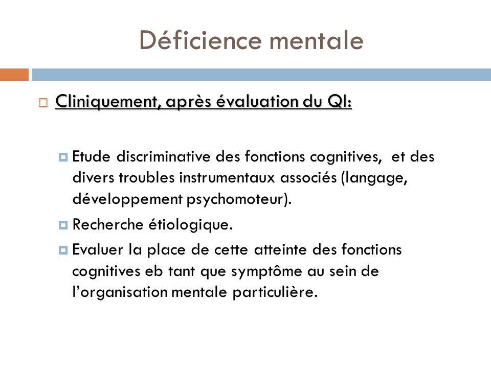 Déficience mentale Cliniquement, après évaluation du QI: Cliniquement, après évaluation du QI: Etude discriminative des fonctions cognitives, et des d