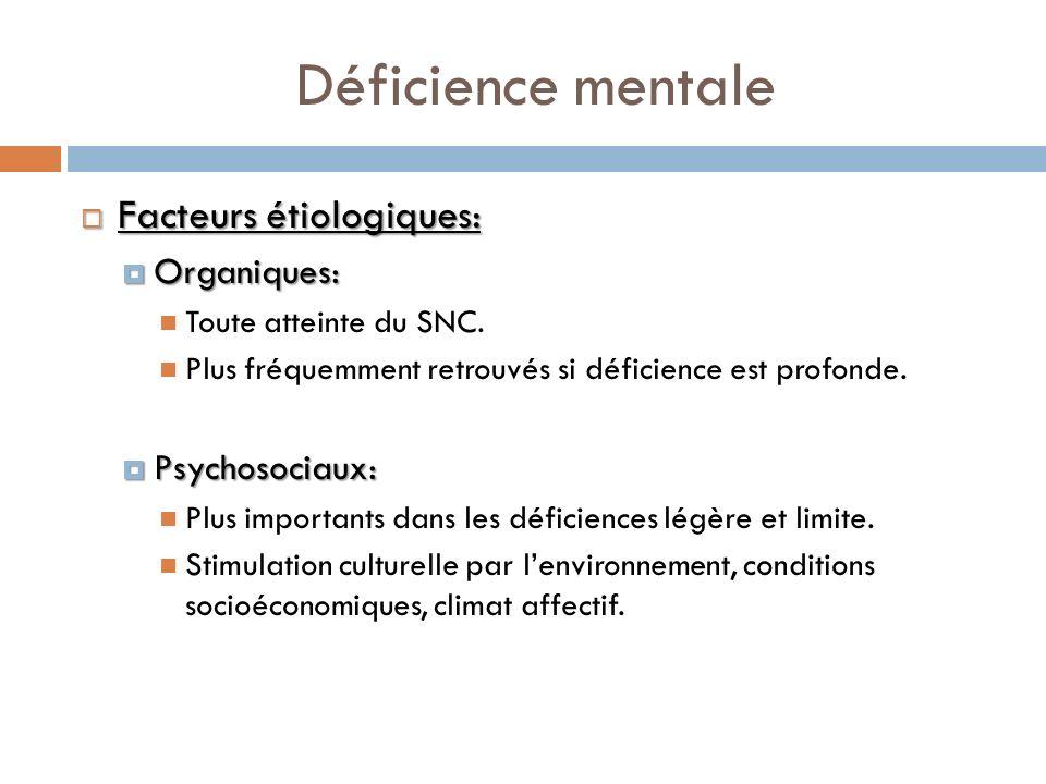 Déficience mentale Facteurs étiologiques: Facteurs étiologiques: Organiques: Organiques: Toute atteinte du SNC. Plus fréquemment retrouvés si déficien