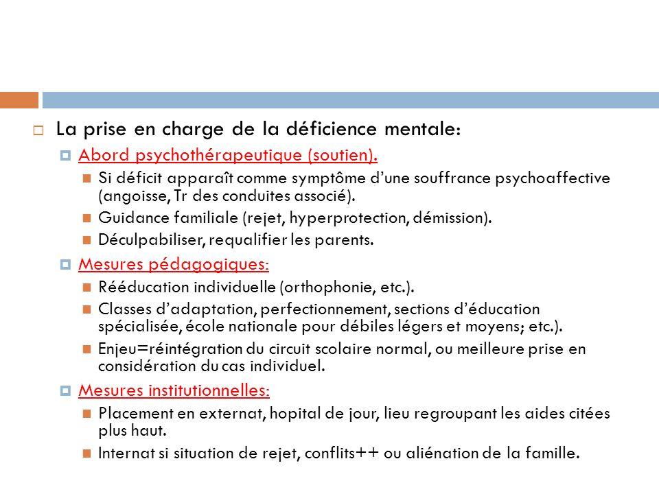 La prise en charge de la déficience mentale: Abord psychothérapeutique (soutien). Si déficit apparaît comme symptôme dune souffrance psychoaffective (