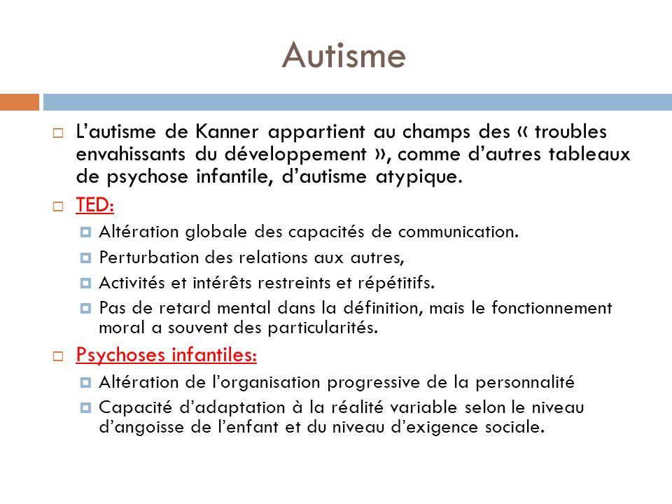 Autisme Lautisme de Kanner appartient au champs des « troubles envahissants du développement », comme dautres tableaux de psychose infantile, dautisme