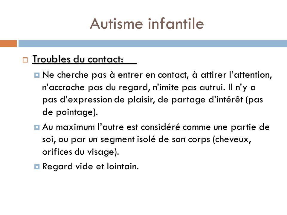 Autisme infantile Troubles du contact: Troubles du contact: Ne cherche pas à entrer en contact, à attirer lattention, naccroche pas du regard, nimite