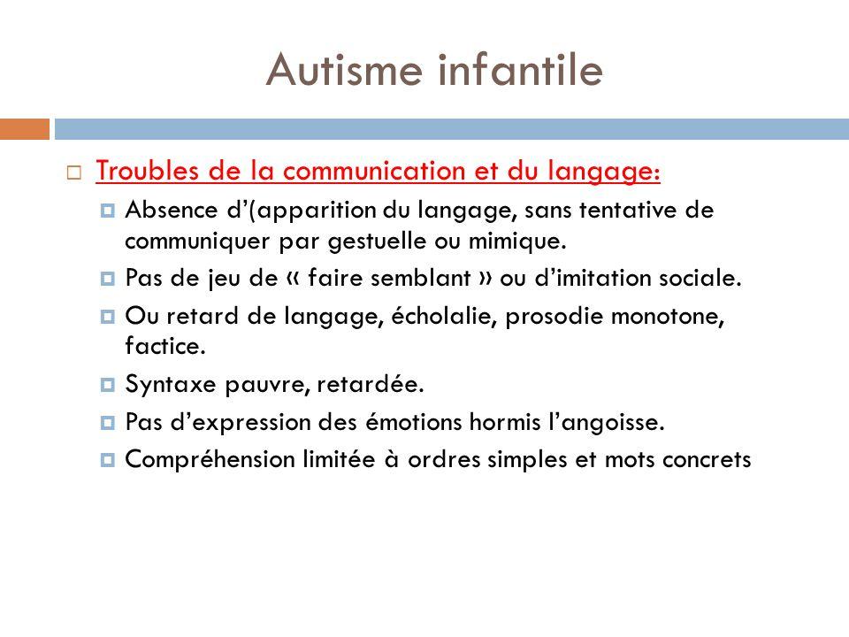 Autisme infantile Troubles de la communication et du langage: Absence d(apparition du langage, sans tentative de communiquer par gestuelle ou mimique.