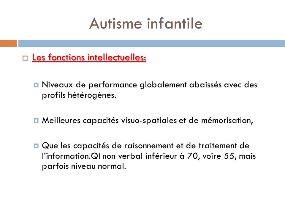 Autisme infantile Les fonctions intellectuelles: Les fonctions intellectuelles: Niveaux de performance globalement abaissés avec des profils hétérogèn