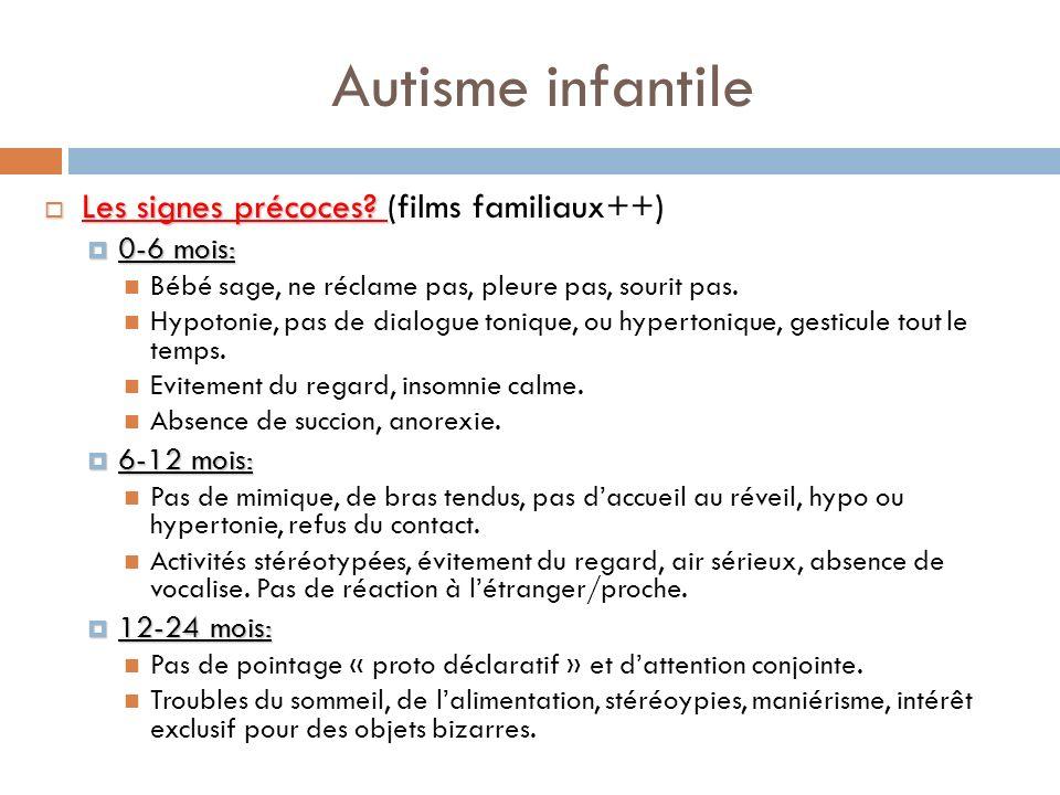 Autisme infantile Les signes précoces? Les signes précoces? (films familiaux++) 0-6 mois: 0-6 mois: Bébé sage, ne réclame pas, pleure pas, sourit pas.