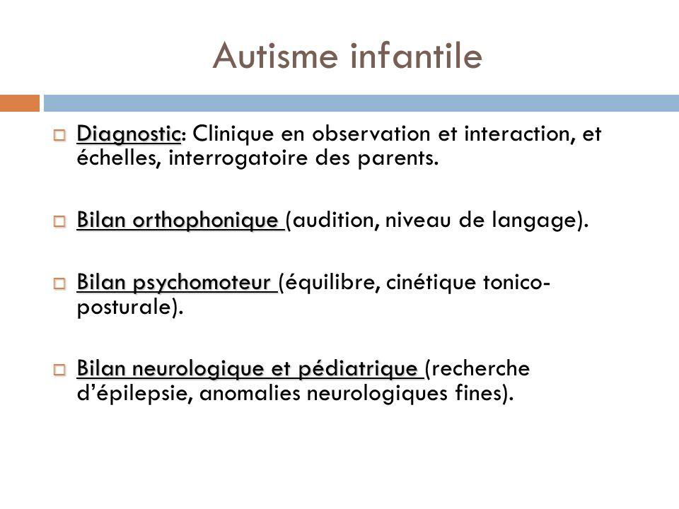 Autisme infantile Diagnostic Diagnostic: Clinique en observation et interaction, et échelles, interrogatoire des parents. Bilan orthophonique Bilan or