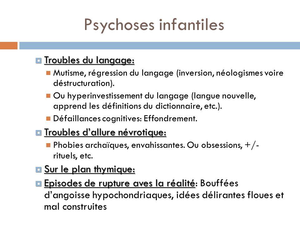 Psychoses infantiles Troubles du langage: Troubles du langage: Mutisme, régression du langage (inversion, néologismes voire déstructuration). Ou hyper