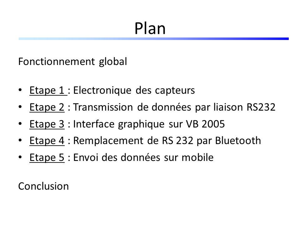 Plan Fonctionnement global Etape 1 : Electronique des capteurs Etape 2 : Transmission de données par liaison RS232 Etape 3 : Interface graphique sur V