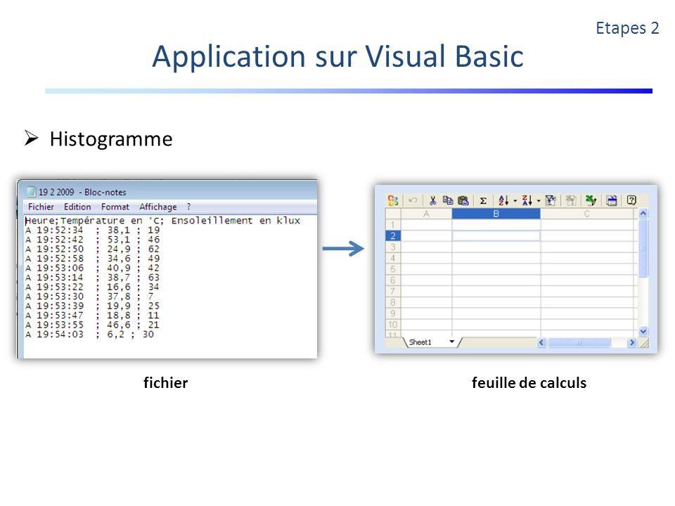Application sur Visual Basic Etapes 2 Histogramme fichierfeuille de calculs