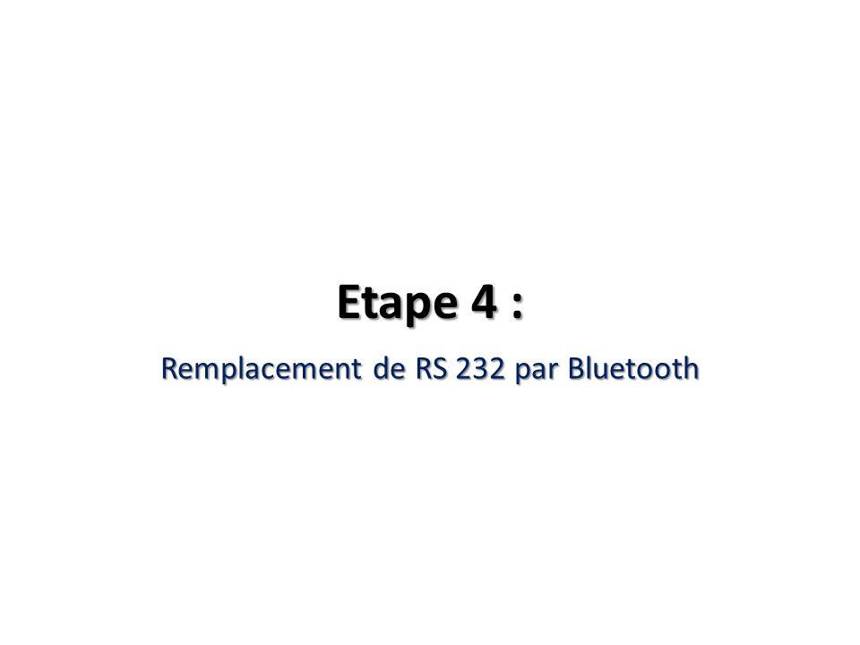 Etape 4 : Remplacement de RS 232 par Bluetooth