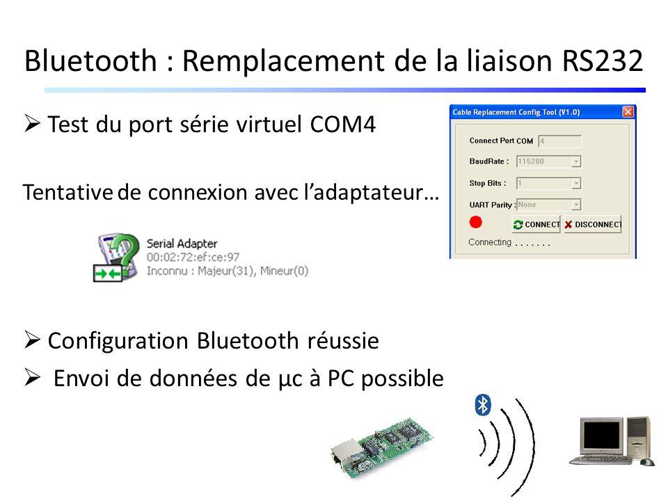 Bluetooth : Remplacement de la liaison RS232 Test du port série virtuel COM4 Tentative de connexion avec ladaptateur… Configuration Bluetooth réussie
