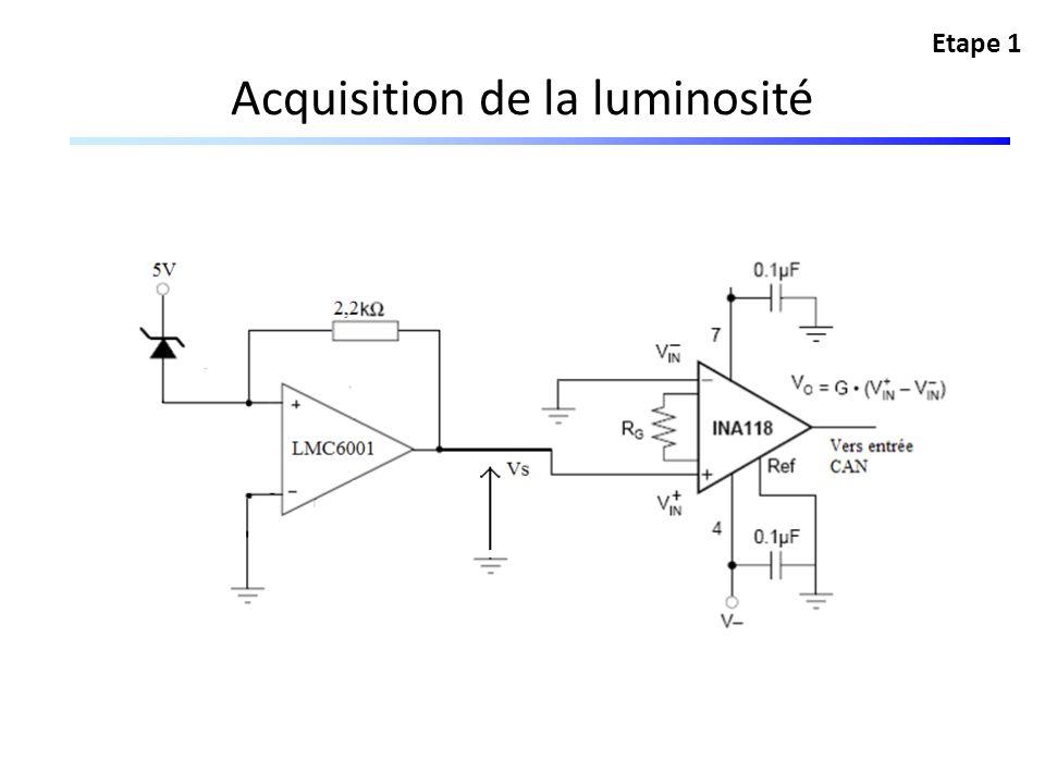 Acquisition de la luminosité Etape 1