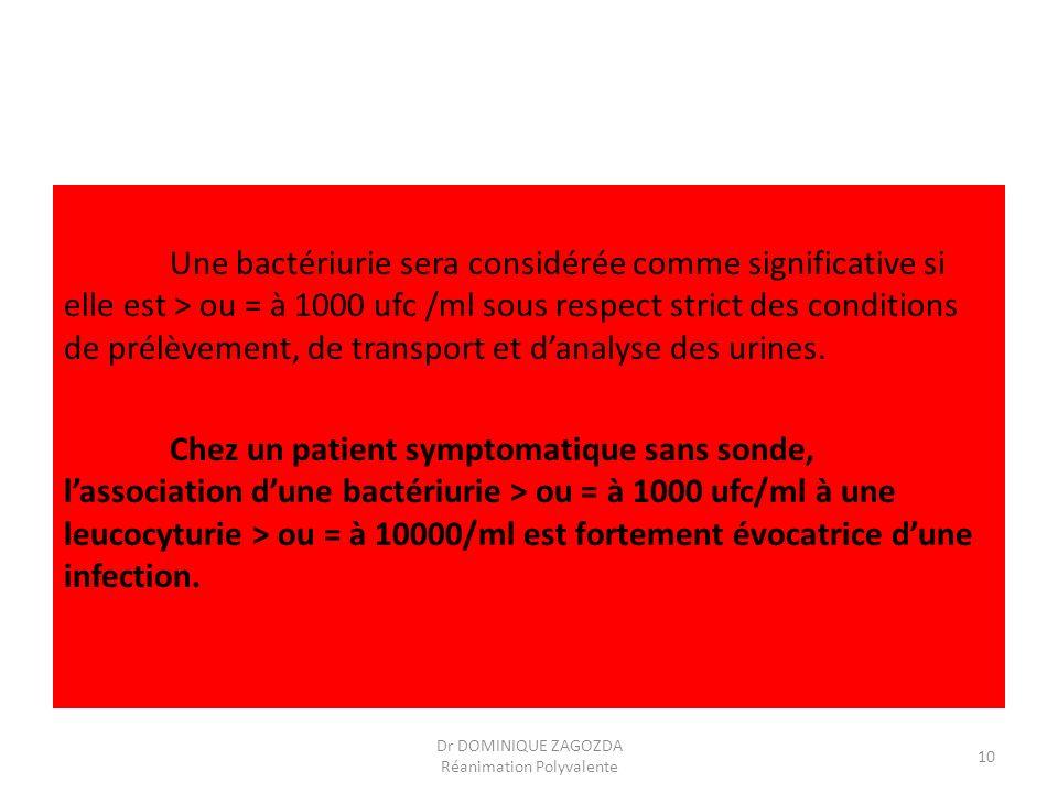 Une bactériurie sera considérée comme significative si elle est > ou = à 1000 ufc /ml sous respect strict des conditions de prélèvement, de transport