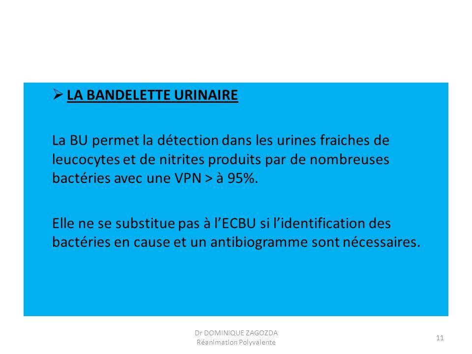 LA BANDELETTE URINAIRE La BU permet la détection dans les urines fraiches de leucocytes et de nitrites produits par de nombreuses bactéries avec une V