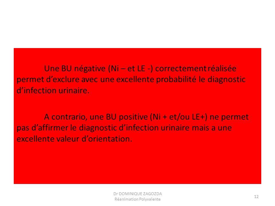 Une BU négative (Ni – et LE -) correctement réalisée permet dexclure avec une excellente probabilité le diagnostic dinfection urinaire. A contrario, u