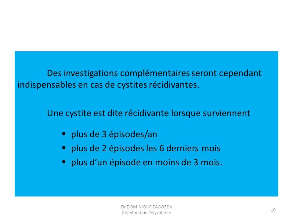 Des investigations complémentaires seront cependant indispensables en cas de cystites récidivantes. Une cystite est dite récidivante lorsque survienne