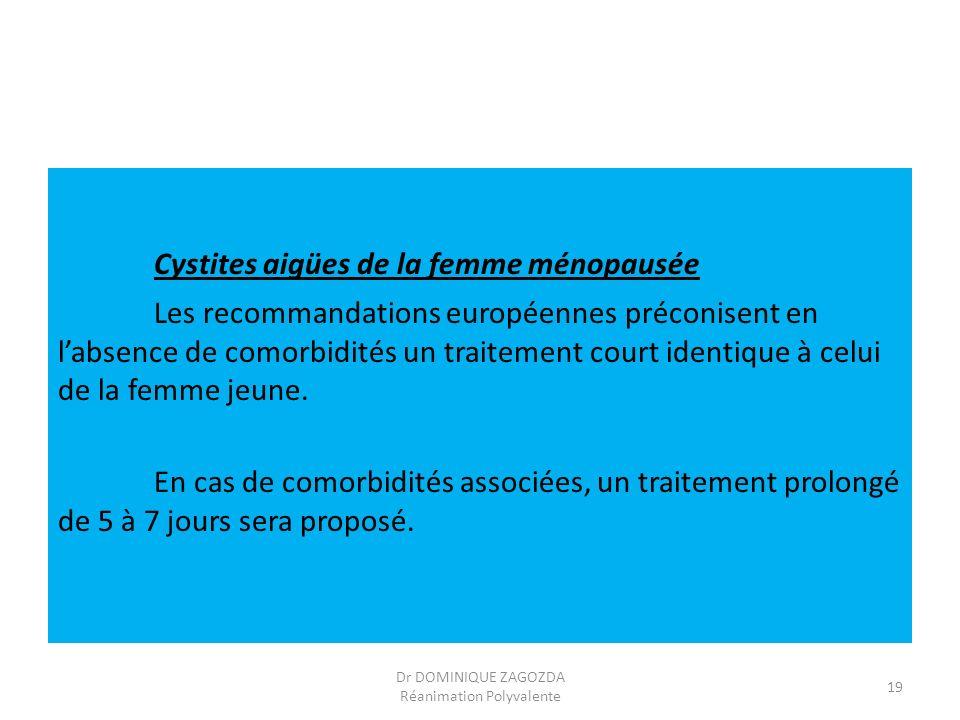 Cystites aigües de la femme ménopausée Les recommandations européennes préconisent en labsence de comorbidités un traitement court identique à celui d