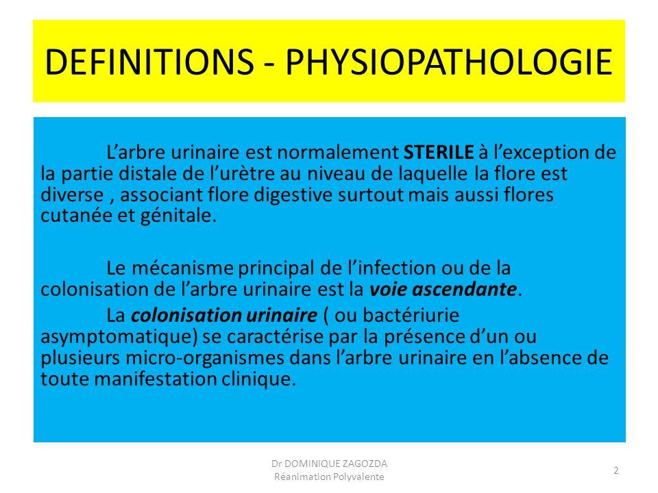 DEFINITIONS - PHYSIOPATHOLOGIE Larbre urinaire est normalement STERILE à lexception de la partie distale de lurètre au niveau de laquelle la flore est