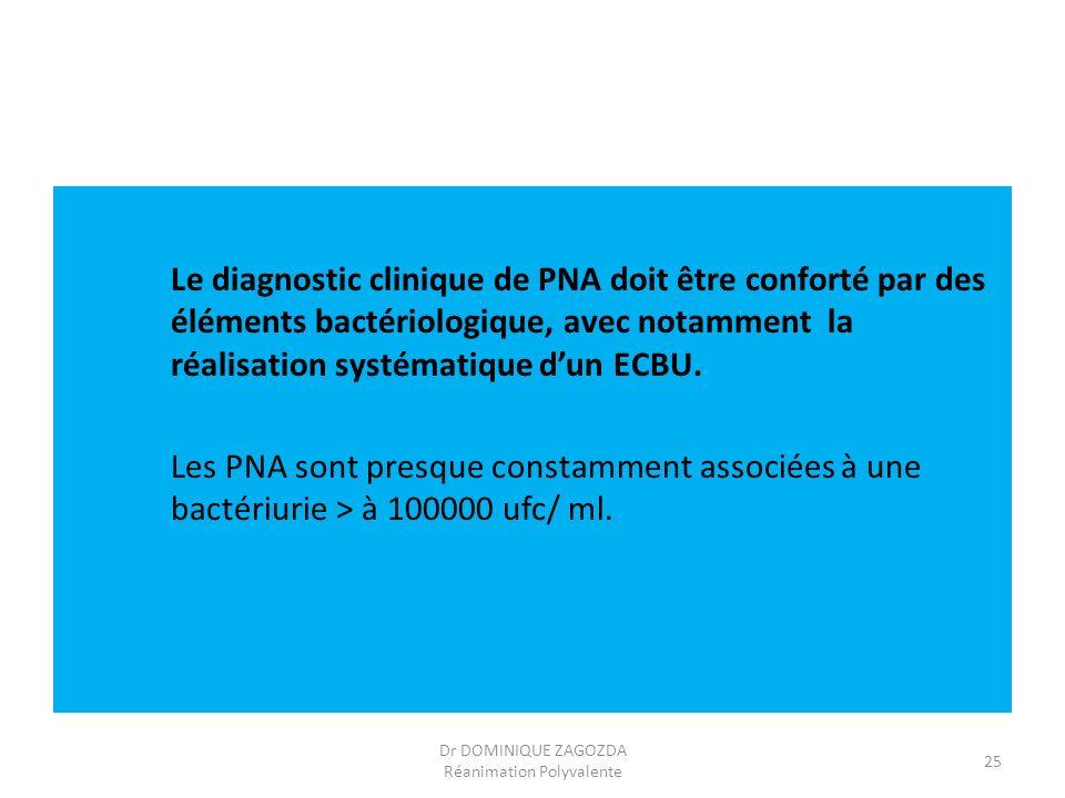 Le diagnostic clinique de PNA doit être conforté par des éléments bactériologique, avec notamment la réalisation systématique dun ECBU. Les PNA sont p