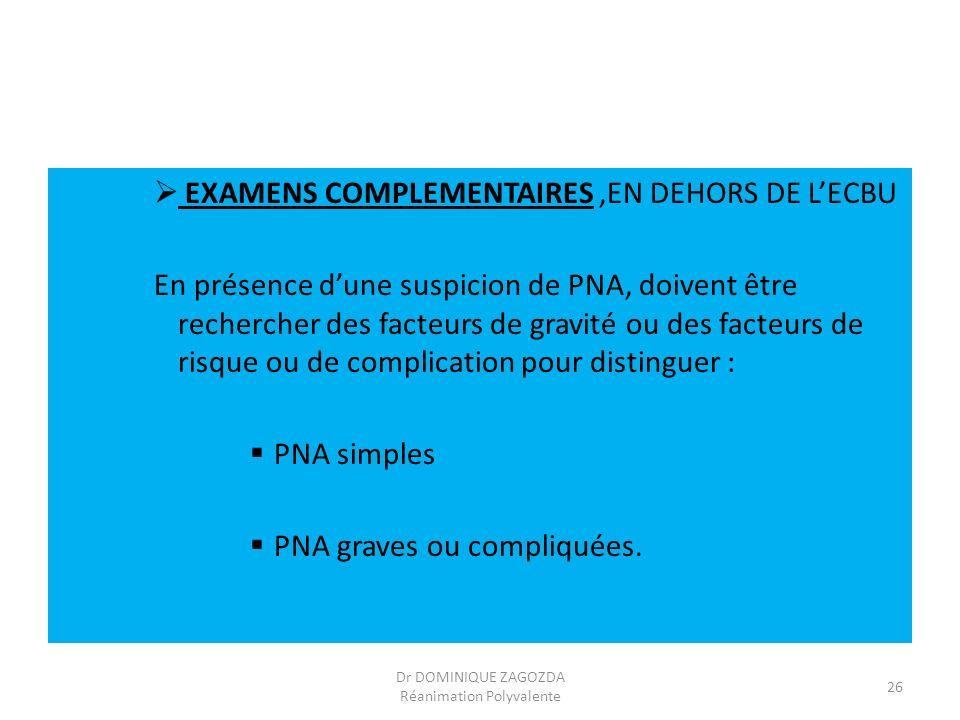 EXAMENS COMPLEMENTAIRES,EN DEHORS DE LECBU En présence dune suspicion de PNA, doivent être rechercher des facteurs de gravité ou des facteurs de risqu
