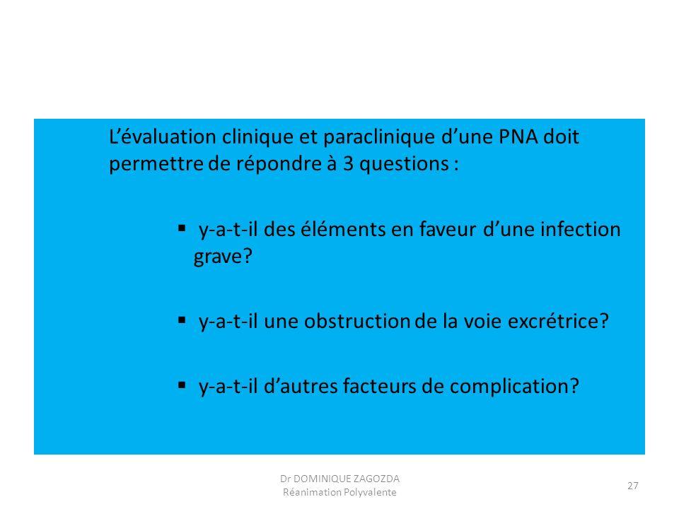 Lévaluation clinique et paraclinique dune PNA doit permettre de répondre à 3 questions : y-a-t-il des éléments en faveur dune infection grave? y-a-t-i