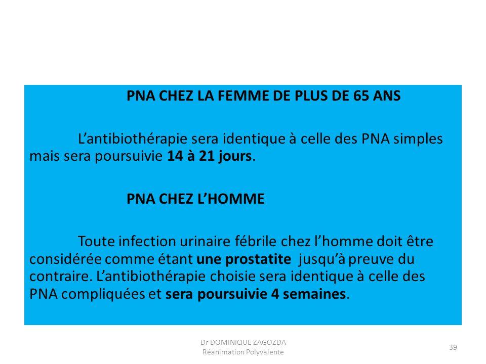 PNA CHEZ LA FEMME DE PLUS DE 65 ANS Lantibiothérapie sera identique à celle des PNA simples mais sera poursuivie 14 à 21 jours. PNA CHEZ LHOMME Toute