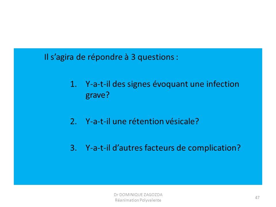 Il sagira de répondre à 3 questions : 1.Y-a-t-il des signes évoquant une infection grave? 2.Y-a-t-il une rétention vésicale? 3.Y-a-t-il dautres facteu