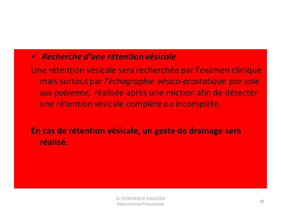 Recherche dune rétention vésicale Une rétention vésicale sera recherchée par lexamen clinique mais surtout par léchographie vésico-prostatique par voi