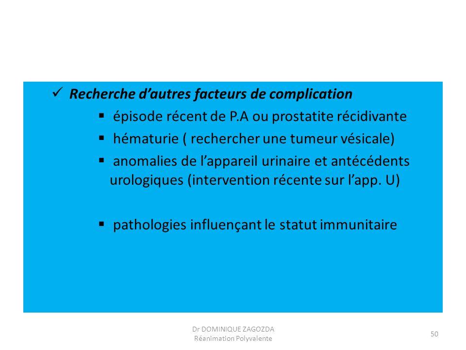 Recherche dautres facteurs de complication épisode récent de P.A ou prostatite récidivante hématurie ( rechercher une tumeur vésicale) anomalies de la