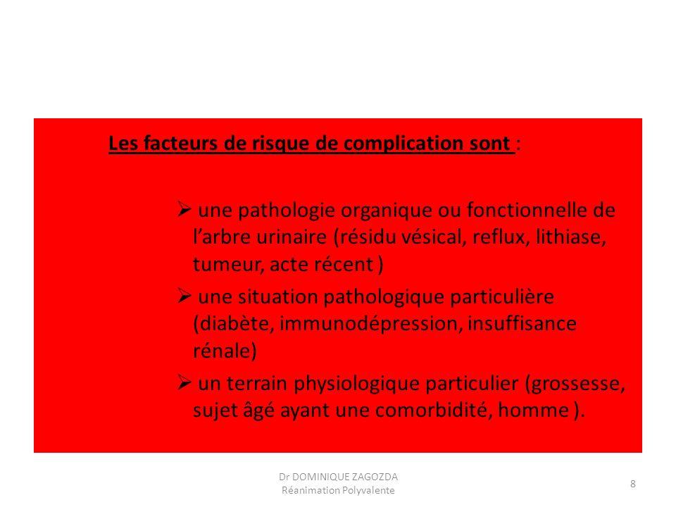 Les facteurs de risque de complication sont : une pathologie organique ou fonctionnelle de larbre urinaire (résidu vésical, reflux, lithiase, tumeur,