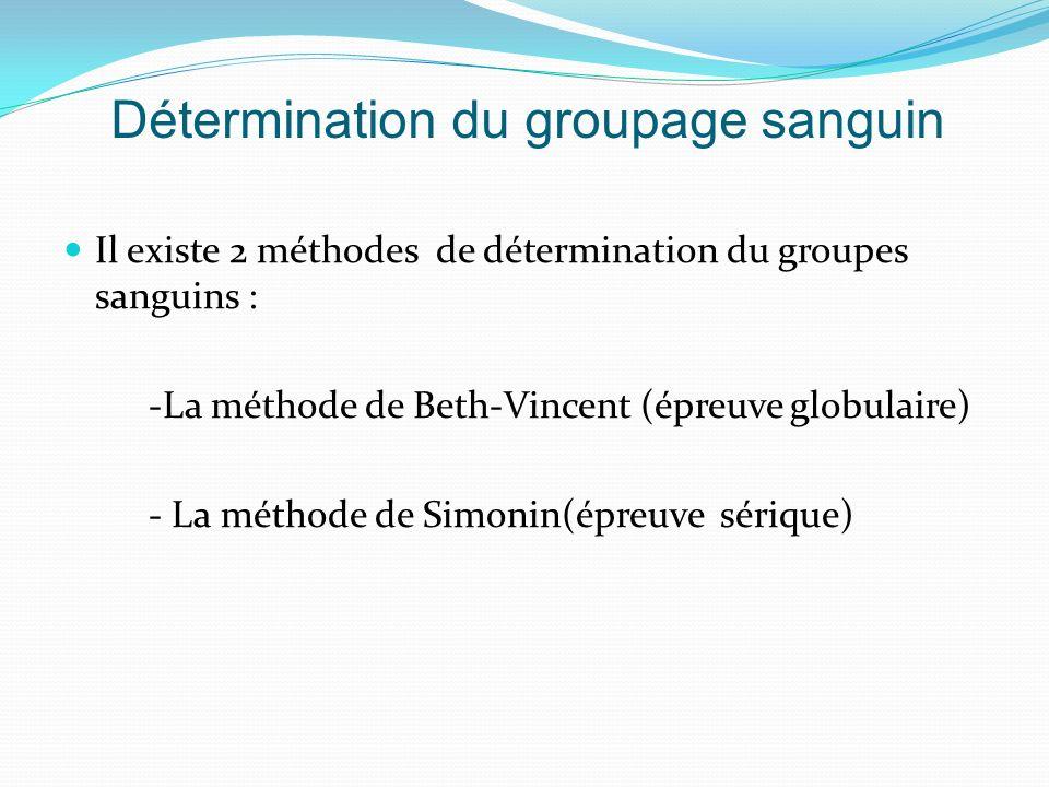 Détermination du groupage sanguin Il existe 2 méthodes de détermination du groupes sanguins : -La méthode de Beth-Vincent (épreuve globulaire) - La méthode de Simonin(épreuve sérique)