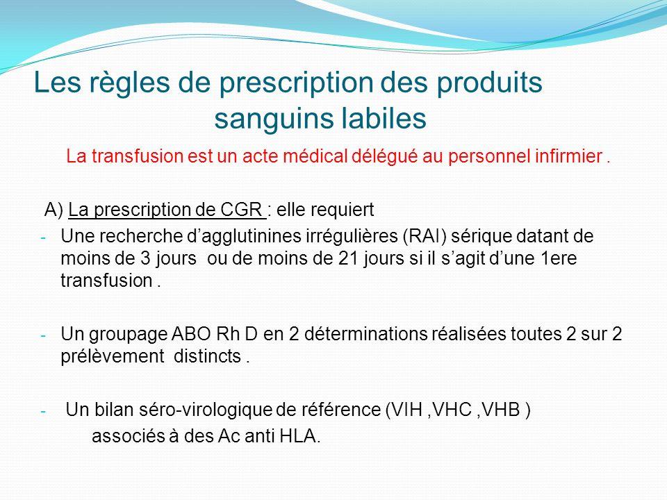 Les règles de prescription des produits sanguins labiles La transfusion est un acte médical délégué au personnel infirmier.