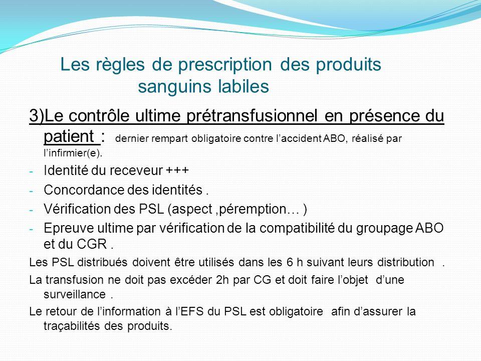 Les règles de prescription des produits sanguins labiles 3)Le contrôle ultime prétransfusionnel en présence du patient : dernier rempart obligatoire contre laccident ABO, réalisé par linfirmier(e).