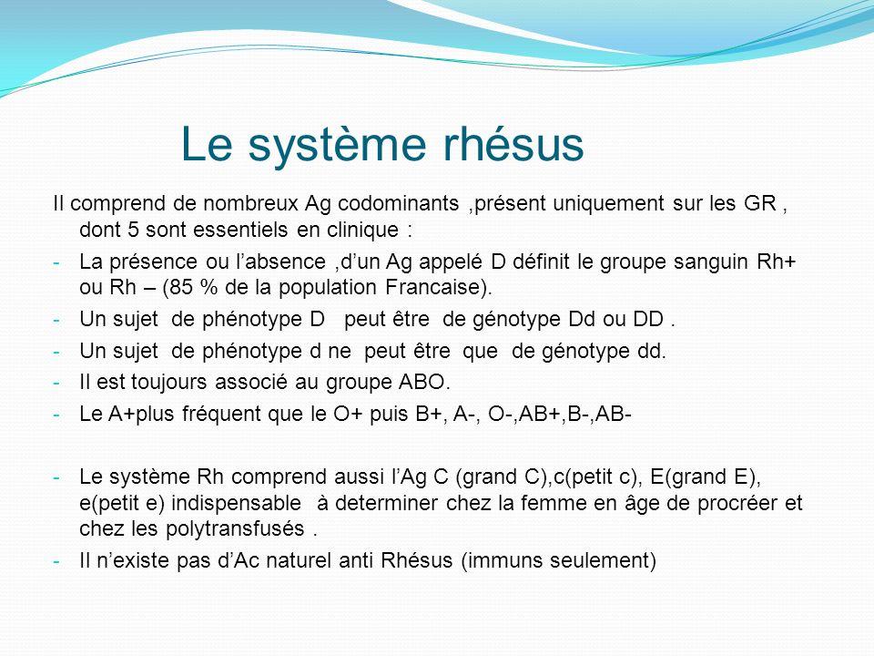 Autres systèmes érythrocytaires Système Kell : 90 % de la population est kell négatif, à identifier chez la femme en âge de procréer et les multi-transfusés.