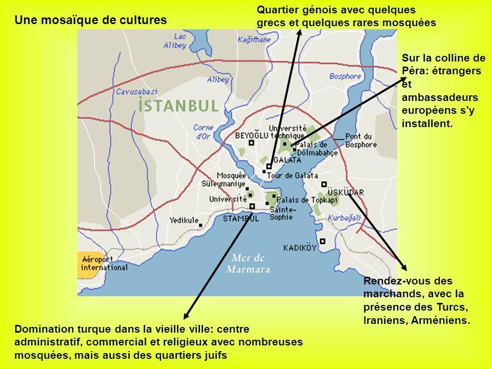 Domination turque dans la vieille ville: centre administratif, commercial et religieux avec nombreuses mosquées, mais aussi des quartiers juifs Quartier génois avec quelques grecs et quelques rares mosquées Rendez-vous des marchands, avec la présence des Turcs, Iraniens, Arméniens.