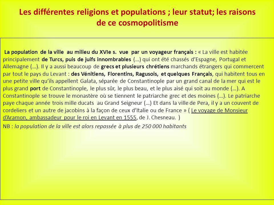 Les différentes religions et populations ; leur statut; les raisons de ce cosmopolitisme La population de la ville au milieu du XVIe s.