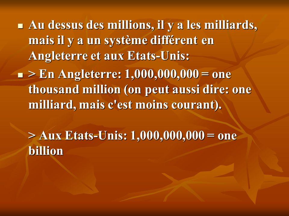 SYSTEME FRANCAIS SYSTEME Anglo-saxon 1 258 963 / 1.258.963 (avec des points) 1,258,963 2,54 (virgule) 2.54 (point)