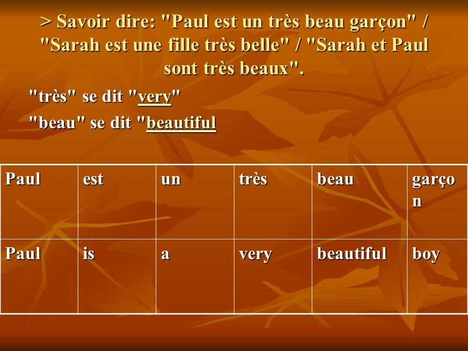 > Savoir dire: Paul est un très beau garçon / Sarah est une fille très belle / Sarah et Paul sont très beaux .