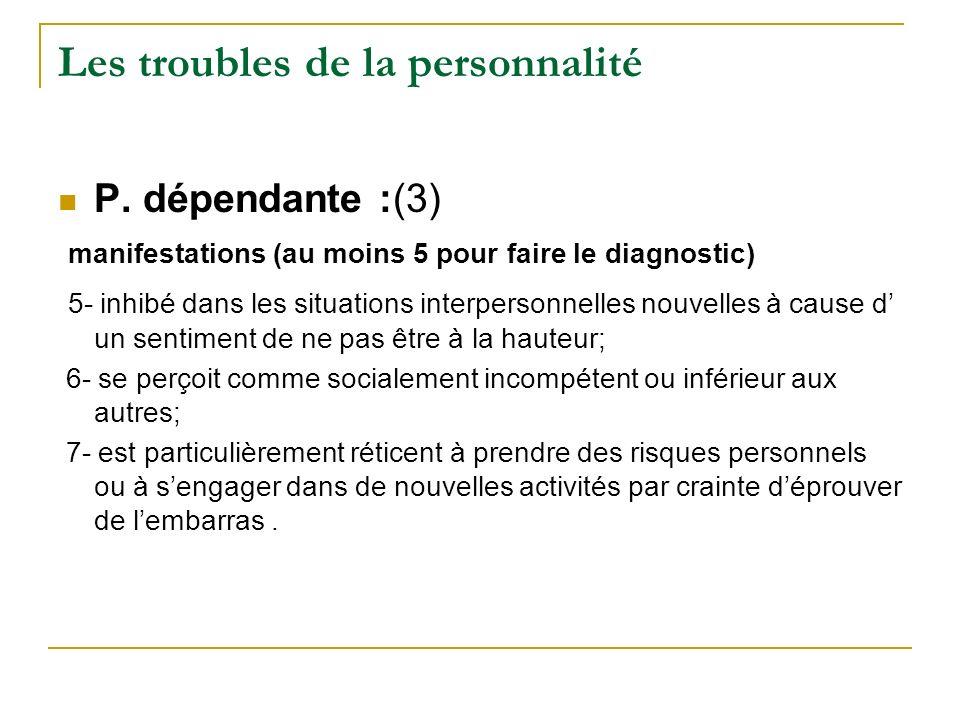 Les troubles de la personnalité P. dépendante :(3) manifestations (au moins 5 pour faire le diagnostic) 5- inhibé dans les situations interpersonnelle