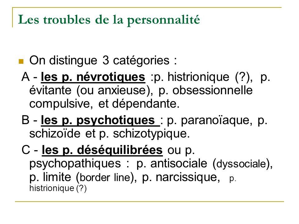 Les troubles de la personnalité On distingue 3 catégories : A - les p. névrotiques :p. histrionique (?), p. évitante (ou anxieuse), p. obsessionnelle
