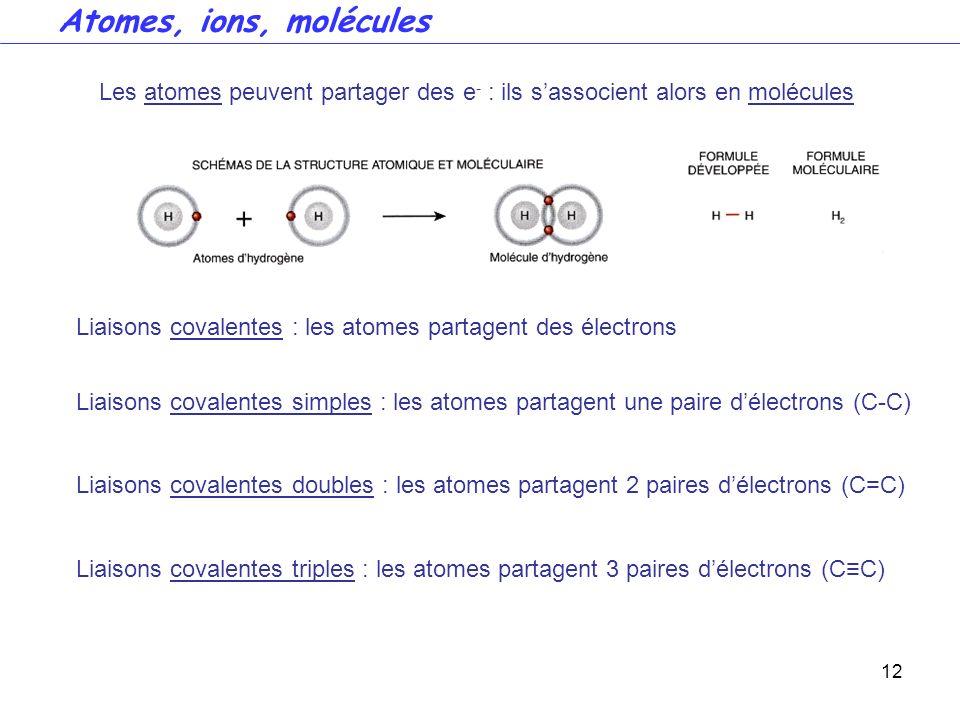 12 Liaisons covalentes : les atomes partagent des électrons Liaisons covalentes simples : les atomes partagent une paire délectrons (C-C) Liaisons cov