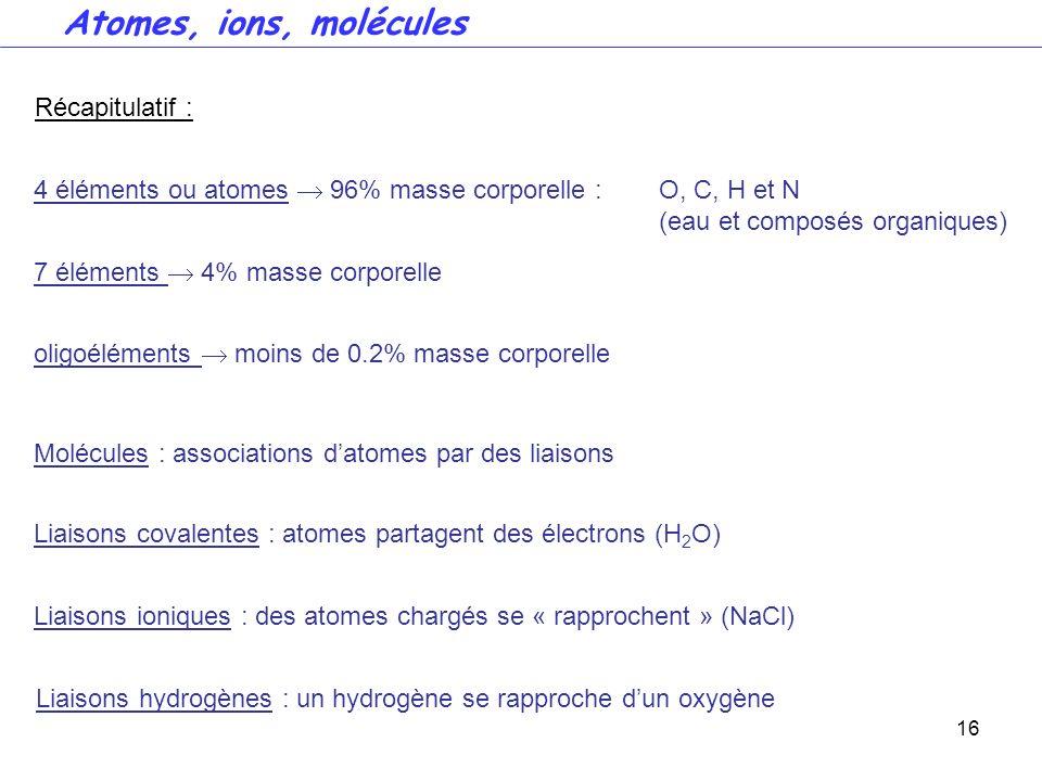 16 Récapitulatif : 4 éléments ou atomes 96% masse corporelle : O, C, H et N (eau et composés organiques) Molécules : associations datomes par des liai