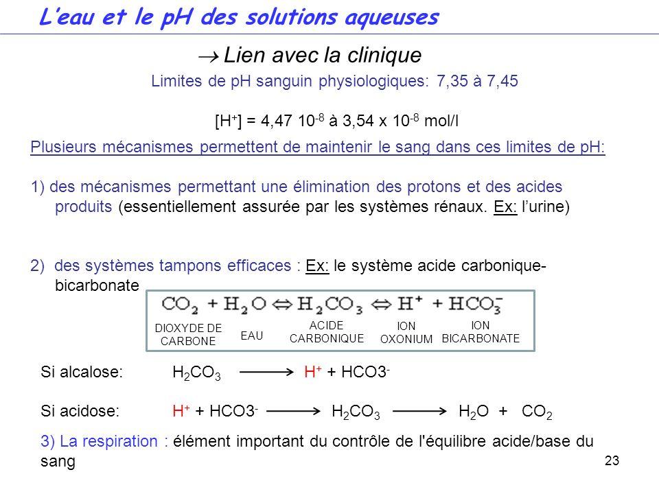 23 Limites de pH sanguin physiologiques: 7,35 à 7,45 [H + ] = 4,47 10 -8 à 3,54 x 10 -8 mol/l Lien avec la clinique 3) La respiration : élément import