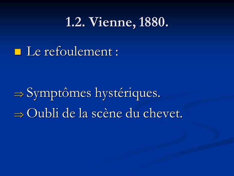 1.2. Vienne, 1880. Le refoulement : Le refoulement : Symptômes hystériques. Symptômes hystériques. Oubli de la scène du chevet. Oubli de la scène du c
