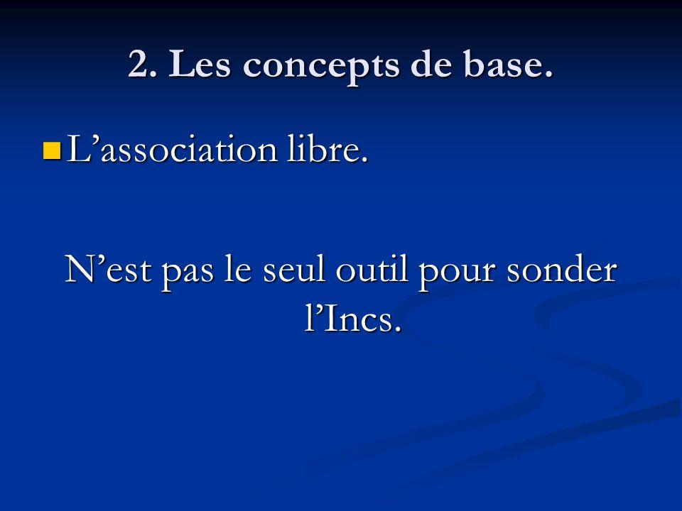 2. Les concepts de base. Lassociation libre. Lassociation libre. Nest pas le seul outil pour sonder lIncs.