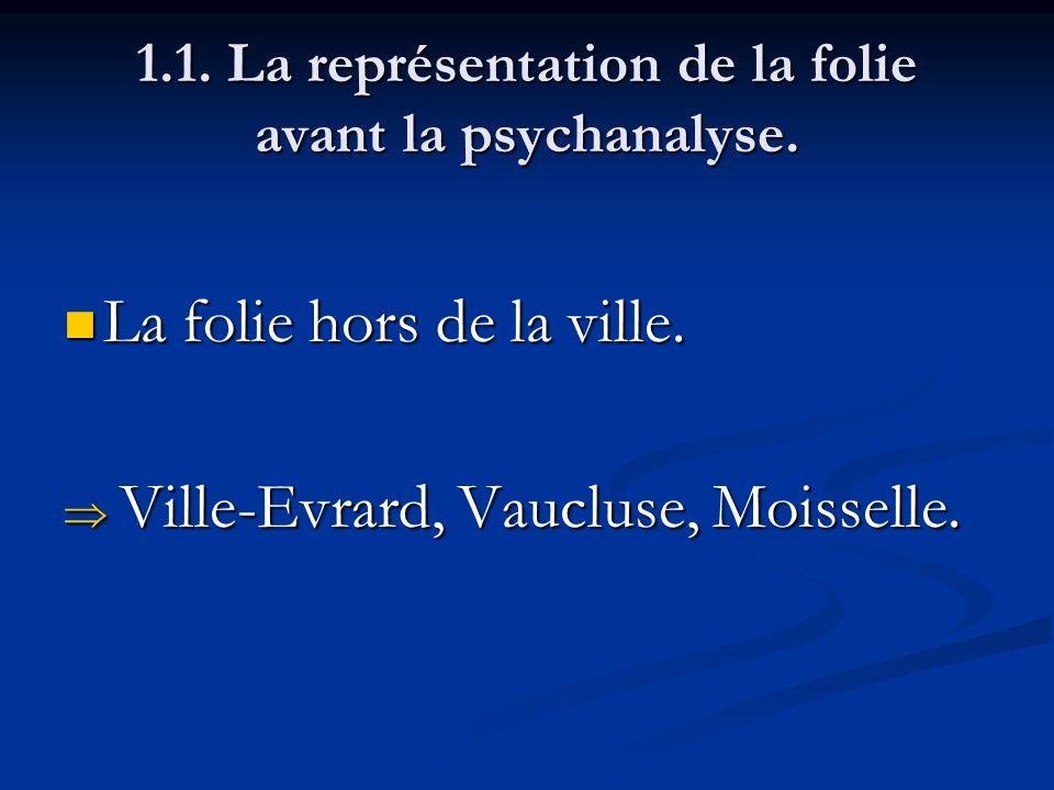 1.1. La représentation de la folie avant la psychanalyse. La folie hors de la ville. La folie hors de la ville. Ville-Evrard, Vaucluse, Moisselle. Vil