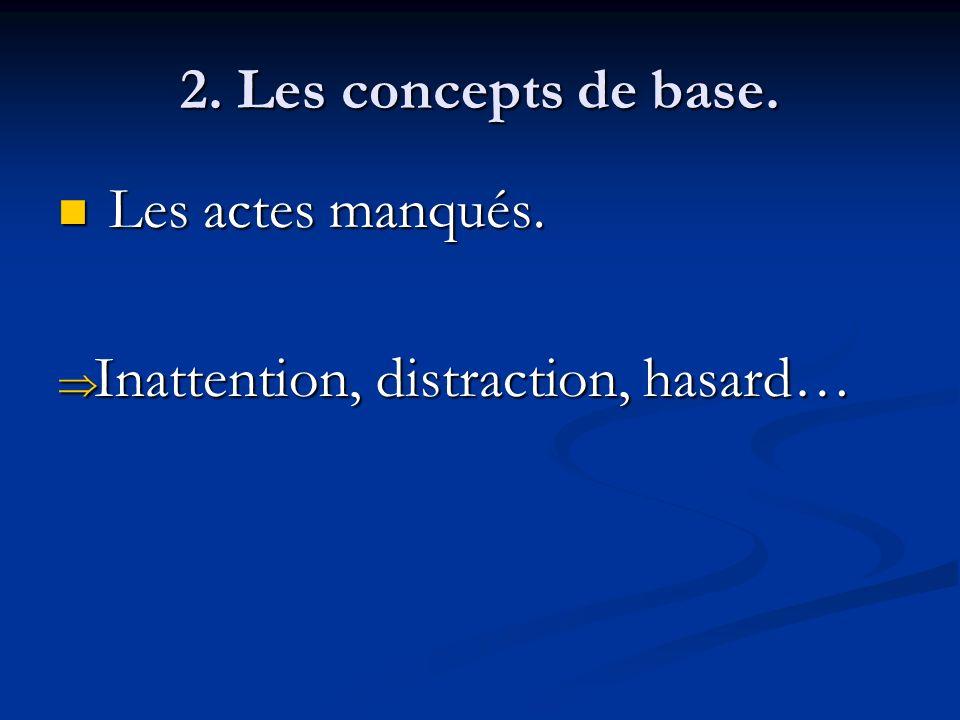 2. Les concepts de base. Les actes manqués. Les actes manqués. Inattention, distraction, hasard… Inattention, distraction, hasard…