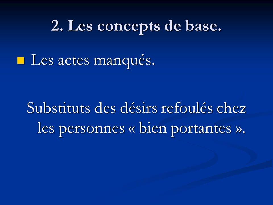 2. Les concepts de base. Les actes manqués. Les actes manqués. Substituts des désirs refoulés chez les personnes « bien portantes ».