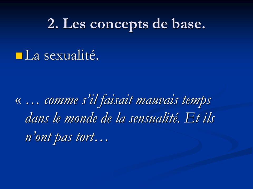 2. Les concepts de base. La sexualité. La sexualité. « … comme sil faisait mauvais temps dans le monde de la sensualité. Et ils nont pas tort… « … com