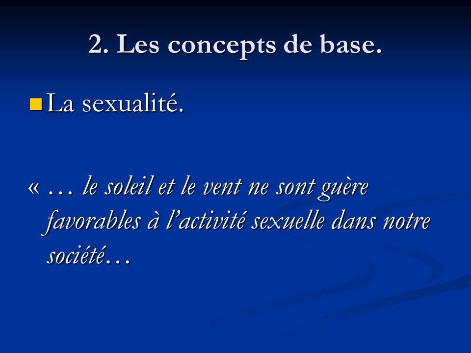 2. Les concepts de base. La sexualité. La sexualité. « … le soleil et le vent ne sont guère favorables à lactivité sexuelle dans notre société…